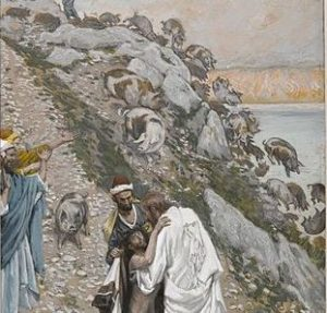 The Swine Driven into the Sea by Tissot